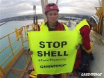 Lucy Lawless, Greenpeace New Zealand, at #savethearctic protest on Noble Discovery